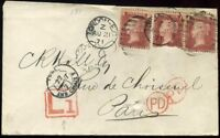 LATE FEE 'L1' 1871 x3 SG43 1d Reds Plate 131 to Paris *Too Late GPO*