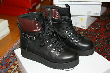 Steve Madden  Womens Hiking Boot Black Leather SZ 8