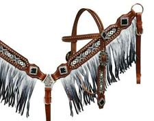 Showman Black & White Beaded Headstall and Breast Collar With Ombre Fringe