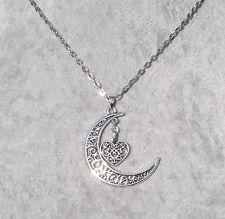 Beautiful Tibetan Silver Filigree Crescent Moon & Heart Necklace.Handcrafted