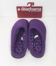 Dearfoams Womens Washable Memory Foam Slipper Purple w/Leopard Lining New