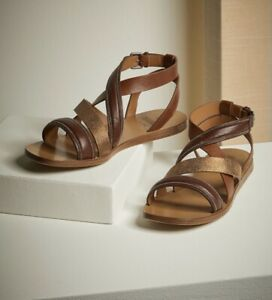 brunello cucinelli Riding leather sandals with shiny bonded detail SIZE 6B
