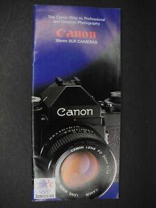 Canon 35mm SLR Cameras & FD Lenses 1983 Brochure NEW FD Lens Spec Sheet