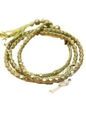 M. Cohen Handmade Designs Brass Beads on Gree Colored Waxed Corded Wrap Bracelet