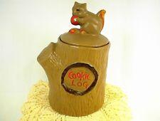 VINTAGE McCOY COOKIE JAR COOKIE LOG with SQUIRREL on the LID BROWN