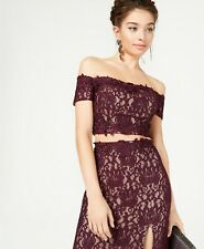 New $100 Sequin Hearts Women's Purple Lace Off Shoulder Glitter Crop Top Size 7