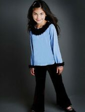 Greggy Girl 2-Piece Outfit Velvet Brown/Blue 4T/4 *New with Tags*