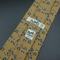 Vintage Hermes Paris Made In France Brown Sword Fencing Pattern Silk Tie 667 OA