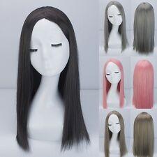 Long Straight Synthetic Wig Part Bangs Harajuku Colorful Hair Cosplay Costume