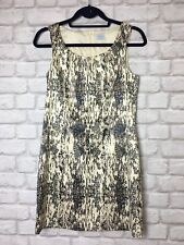 OASIS CREAM AND GREY / BLACK PATTERN PRINT DRESS SIZE 10 EVENING PARTY SUMMER