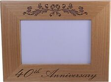 40th Anniversary - 4x6 Inch Wood Picture Frame - Great Anniversary gift for frie