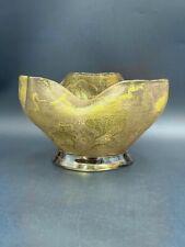 Coupe verre Art Nouveau feuillages gravés acide dorure c.1900 Antique glass cup