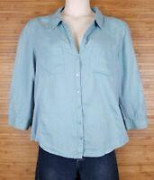 Eileen Fisher Irish Linen Front Organic Cotton Back Blouse sz XL Button Front