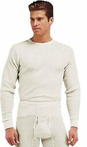White Natural Cold Weather Winter Thermals Knit Underwear Shirt Top Long Johns