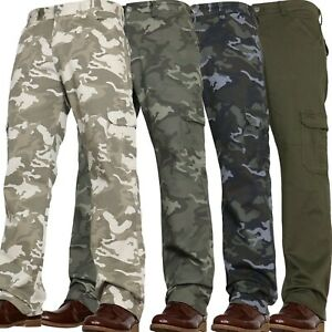 Mens Military Combat Hiking Trousers Camouflage Cargo Camo Army Work Jean Pants