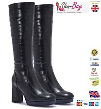 LADIES WOMENS KNEE HIGH BRANDED SMART PLATFORM BOOT SHOES BOOTS UK SIZE 4 5 6 7