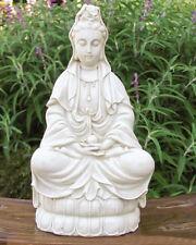 Goddess Kwan Quan Yin White Stone Finish Garden Zen Buddha Statue Sculpture