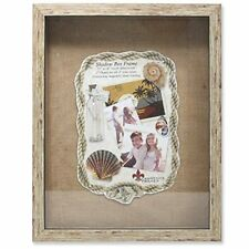 Weathered Front Hinged Shadow Box Frame with Burlap Display Board 11 by 14 Inch