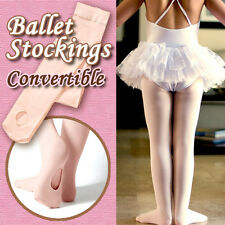 Convertible Girls/women ballet stockings/dance tights/pantyhose pink 4 sizes new