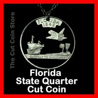 Florida Sunshine State 25¢ FL Quarter Cut Coin Necklace NASA Space Shuttle