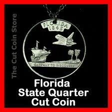 Florida Sunshine State 25¢ FL Quarter Cut Coin Necklace NASA Space Shuttle