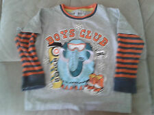 Boys 2-3 Years - Grey & Orange Long Sleeved Top - Boys Club Motif - M&S