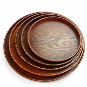 Round Solid Wooden Tea Table Tray Coffee Snack Food Meals Tea Serving Tray AU.