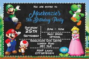 Personalised Super Mario Bros Birthday Party Invites inc envelopes M4