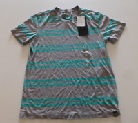 Surplus Mens Size Medium Green & Grey Striped Thin V Neck T Shirt New