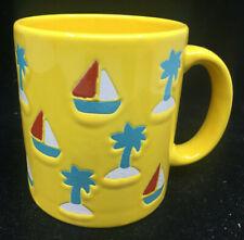 Coffee Mug Cup Waechtersbach W German Germany Yellow Sailboats Boat Palm Trees