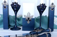 Navy and silver wedding champagne flutes Unity candle set Cake server and knife