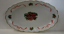 Walbrzych HOLIDAY RIBBON (Ribbed) Oval Meat SERVING PLATTER