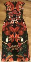 TED BAKER Bismii Tropical Toucan Bird Bodycon Knee Length Cap Sleeve Dress UK 6