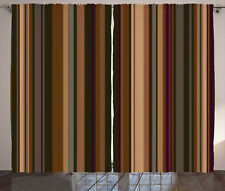Retro Curtains Shades of Earthen Tones Window Drapes 2 Panel Set 108x84 Inches