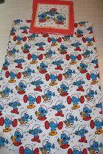 DIE SCHLÜMPFE Vintage VTG Bettwäsche Fabric STOFF Baumwolle SMURFS COTTON FABRIC