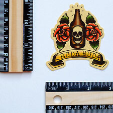 """#2850 Skull BEER Old School Vintage Tattoo Style Drawing Art 3"""" Decal sticker"""