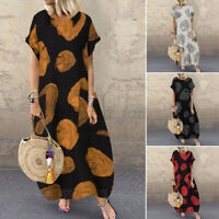 ZANZEA 8-24 Women Summer Maxi Long Sundress Vintage Bohemian Retro Printed Dress