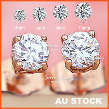 18K ROSE GOLD GF SIGNITY CT DIAMOND MEN WOMENS GIRLS ROUND STUD EARRINGS JEWELRY