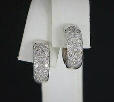 $1,775 14K White Gold Round Pave Diamond Polished Snap Closure Hoop Earrings
