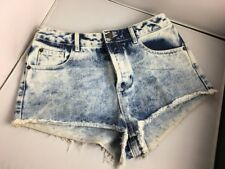 Topshop Moto Acid Wash Frayed Distressed High Waist Hot Pants Shorts W28 10