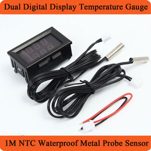 1x Car Red + Blue LED Dual Digital Display Supercharger Temperature Gauge Meter