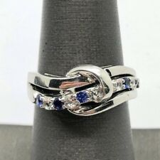Sterling Silver 925 Blue Sapphire CZ Pave Knotted Wave Split Bail Cocktail Ring