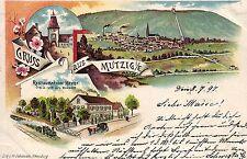 Mutzig i. Elsass, Farb-Litho mit Restauration Heydt, 1897