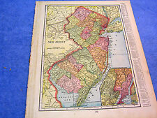 ANTIQUE MAP OF NEW JERSEY W/ RAILROADS, BEACHES, POST OFFICES, COVES