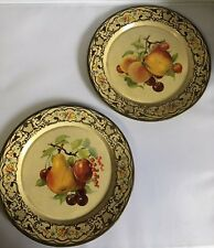 Vintage Dagger Decorated Ware Made In Holland Metal Tin 2 Plates Fruit Design