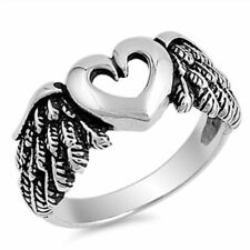 Cutout Heart Angel Wings Biker Ring New .925 Solid Sterling Silver Band Size 7