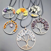 Natural Quartz Crystal Gemstone 7Chakra Healing Tree of Life Pendant Necklace