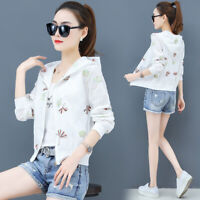 Summer Women's Embroidery Hoodies Jacket Coat Sun Protection Casual Thin Outwear