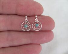 Sterling Silver post stud earrings with 12mm dream catcher dangle.