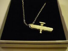 """Wright Flyer Code c81 Aeroplane On a 16"""" Silver Plated Curb Chain Necklace"""